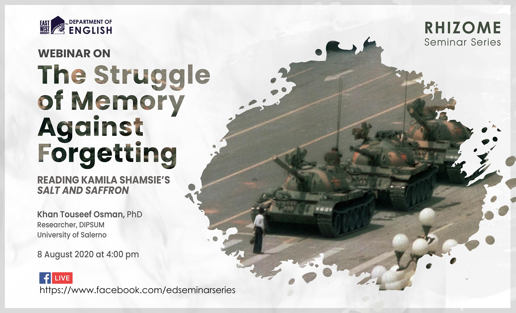 "Webinar on ""The Struggle of Memory against Forgetting: Reading Kamila Shamsie's Salt and Saffron."""