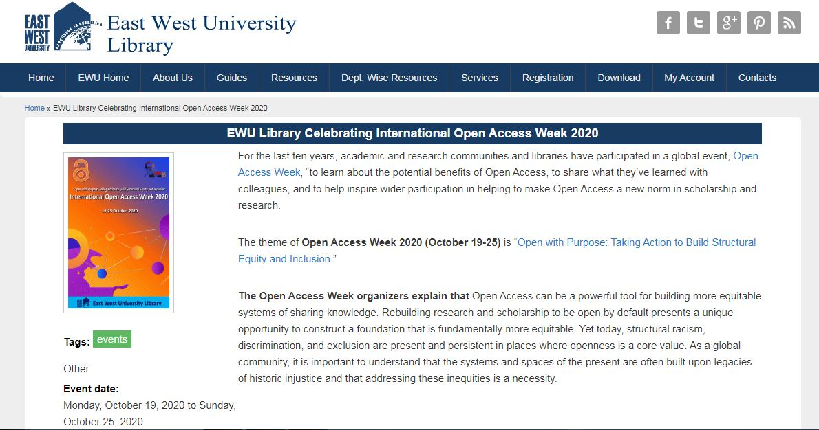 Celebrating International Open Access Week 2020 at East West University
