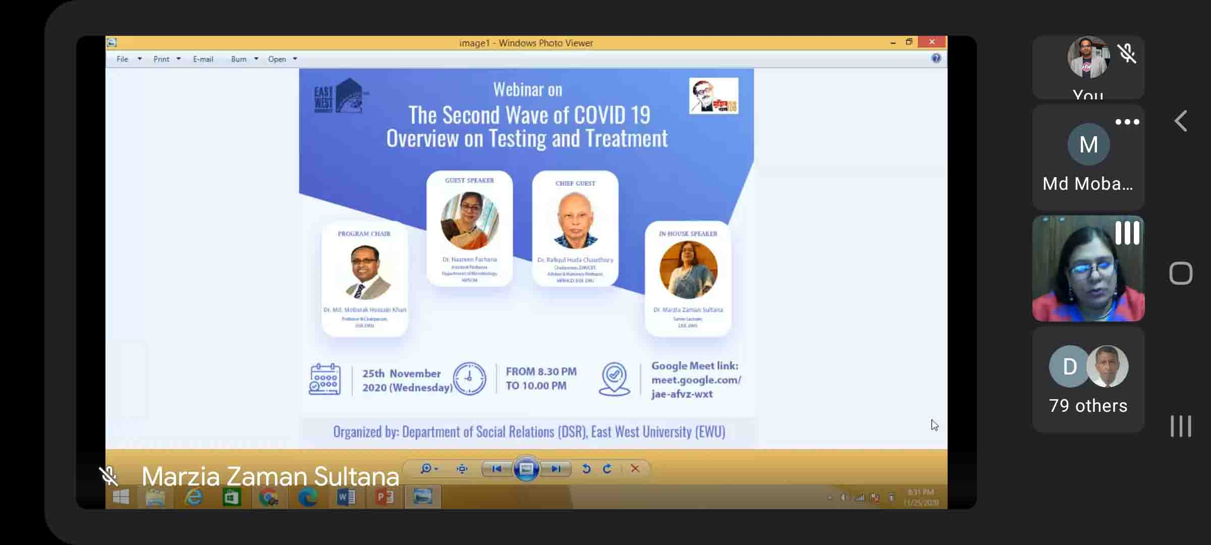 "Department of Social Relations, EWU organized a webinar on, ""The Second Wave of COVID 19: Overview o..."