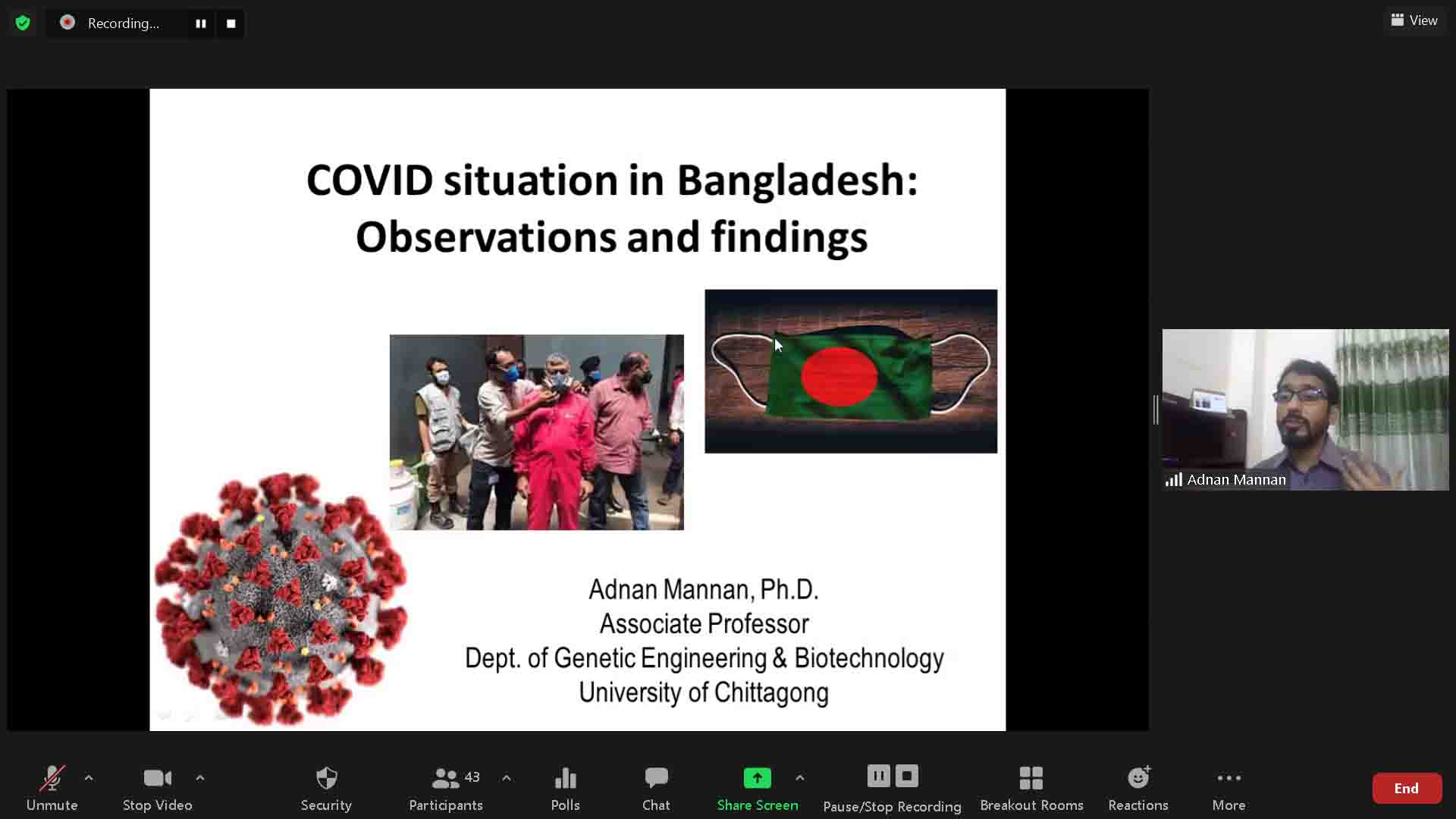 """RESEARCH WEBINAR ON """"EXPLORING THE EPIDEMIOLOGICAL, CLINICAL, AND GENOMIC FEATURES OF SARS CoV-2 INF..."""