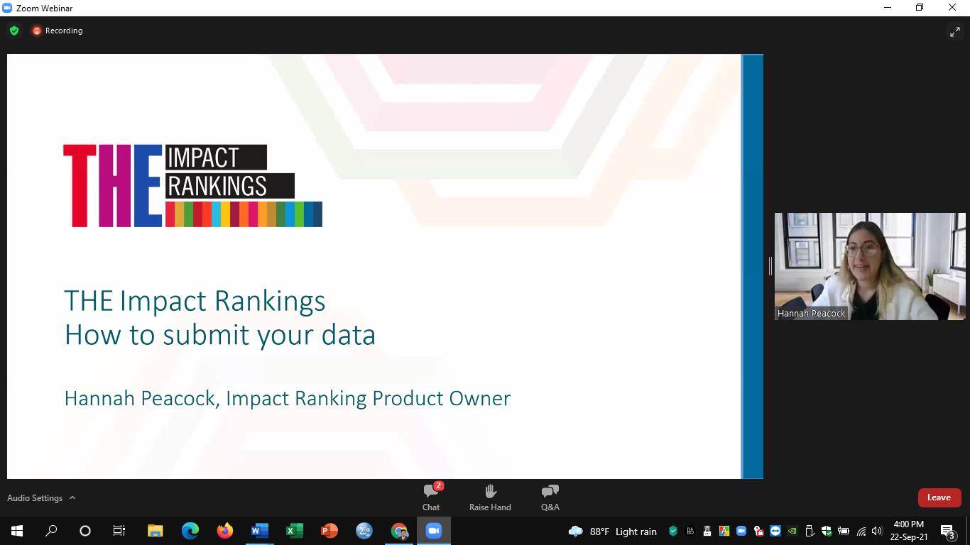 """Participation of webinar on """"Masterclass on THE Impact Rankings 2021"""" organized by The University Gr..."""