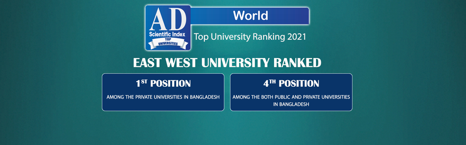 East West University is the Top Private University of Bangladesh in the 'AD Scientific Index' Rankin...